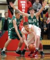 Munster's Mike Schlotman, Valparaiso's John Mosser and Brody Wilson 