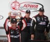 IndyCar driver Helio Castroneves celebrates winning the pole position for the Iowa Corn 250 at Iowa Speedway in Newton, Iowa, on Saturday.
