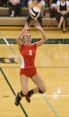 Crown Point's Alyssa Kvarta sets against Valparaiso on Tuesday.