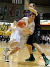 Valparaiso's Kevin Van Wijk drives the lane