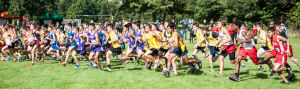 Boys runners sprint to the front of the pack Saturday during the Lowell Invitational.