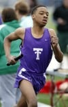 Thornton's DeShawn Ramey runs in the 3,200-meter relay on Saturday at the Stagg Invitational.