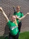 Valparaiso's Mimi Austin, left, and Abbey Thomas are both softball players and cheerleaders.