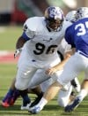 Merrillville defensive end Quentin Lacey-Blackwell