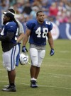 Colts' player trades Army fatigues for football