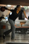 Chicago bowler Lela Page bowls during a warmup session