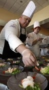 Chef Don Zajac and Chef Cheryl Molenda Assist with Preparing Chef Hanne's Shrimp Dish