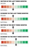 Health care sector in the last three months/next three months