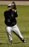 Lowell's right fielder Zack Kirin hauls in