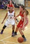 Hobart's Dajah Hill guards Crown Point's Hannah Albrecht on Friday night.
