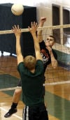 Josh Kocoj goes up for block