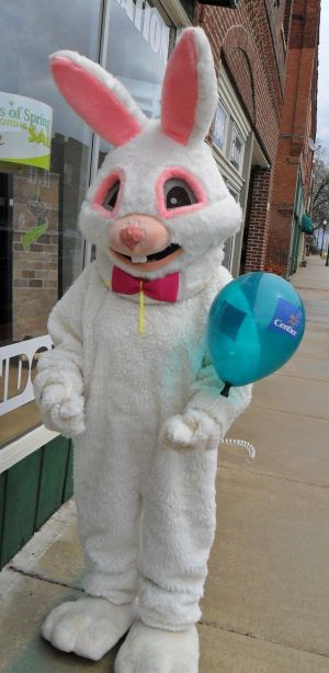 Easter Bunny visiting downtown Lowell today