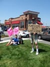Protesters from both side check-in at Chick-fil-A