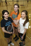 T.F. South's badminton team members Jessica Gomez, Jenna Pasko and Cassie Breshock