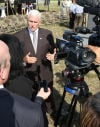 Indiana Governor Mike Pence speaks with reporters