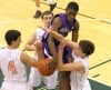 Merrillville's Jelani Pruitt can't hold onto a rebound at Merrillville's basket while Valparaiso's Tyer Doane, left and Brody Wilson defend Friday night. Valpo's Zach Meyer is in the background.