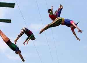 Stunt divers perform at Porter County Fair