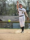 Marian pitcher Allison Spence throws against Beecher