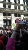 Fans celebrate the Blackhawks' Stanley Cup win
