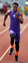 Jauan Wesley of Thornton runs in the 400-meter relay during Saturday's Thornton Classic.