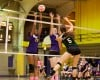 Whiting's Samantha Bock, Gavit blockers Mikaela Perkins, Hattie Andrews