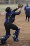 T.F. North catcher Myeisha Fleming tracks a ball