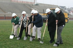 Whiting breaks ground on new track, football field