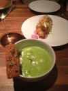 Chilled Zucchini Soup with Sardines and Horseradish-Infused Coconut Milk at Trencherman Restaurant