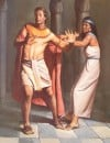 Biblical Illustration of Servant Joseph Resisting the Romantic Advances of Potiphar's Wife