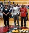 E'Twaun Moore, center, with his parents