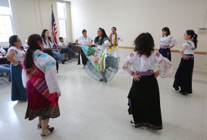 Equadorian teachers dance for seniors