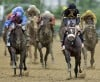 Oxbow, jockey Gary Stevens at Preakness finish