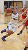 Hobart's Grayce Roach drives against Crown Point on Friday night.