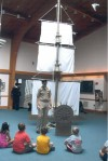 Navy veteran visits vacation Bible school with ship model