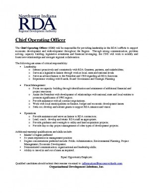 RDA in hunt for chief operating officer