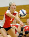 T.F. South's Brittany Krusza passes in the third game