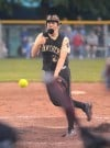 Griffifh pitcher Blair Morton throws against Hanover Central on Tuesday night at the Class 3A regional.