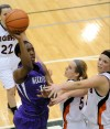 Merrillville's Victoria Gaines shoots against Warsaw on Saturday night.