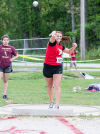 Portage's Ashely Sosbe won shot put