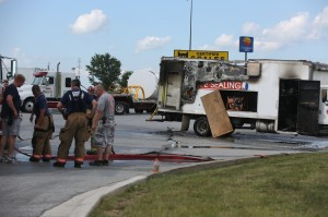 Fire damages box truck near gas pumps off Interstate 65