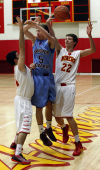 Andrean's Aidan Finigan, right, steals the ball from Hanover Central's Jordan Smith