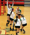 Valparaiso celebrates a point in the second game of their match against Michigan City on Thursday night.