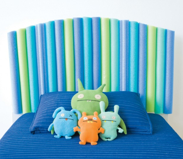 pool noodle headboard kids room decorating