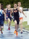 Beecher's Griffin Nzkaza heads to the finish line