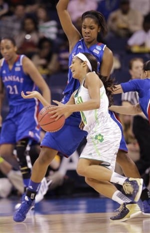 Diggins leads Notre Dame past Kansas, 93-63