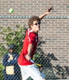 Munster No. 1 singles player Arlo Detmer returns a shot Wednesday at the Munster Regional.
