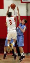 Andrean's Nick Podkul shoots over Hanover Central's Jordan Smith