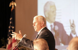 Pence makes jabs at Illinois, touts Indiana business climate