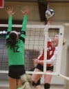 Valparaiso's Dani Suiter goes up for a block against Munster's Shannon Farrell on Thursday.
