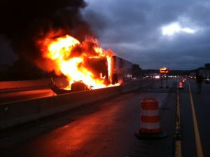 Semitrailer blaze closes I-94 for three hours